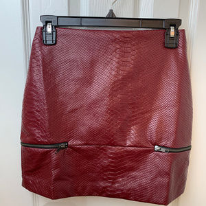 NWT Lovers & Friends Wine Faux Leather Skirt. XS